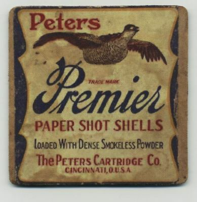 Peters Premier Shot Shell - COASTER  -  Ammo Box Design - Quail Hunting