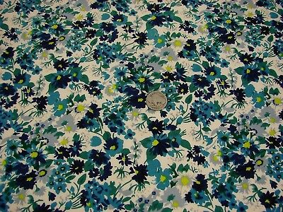 Vtg Fine Cotton Lawn Abstract Widlflowers Shades of Blue/Gray/Yellow-44x5.1Yds