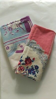 Vintage Lot/2 Tablecloths or Toppers Printed Cotton Teacups & Pink Linen Floral