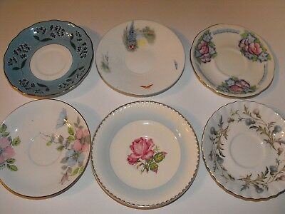 6 Vintage English China Saucers Blues Floral * Royal Albert Colclough Shelley +
