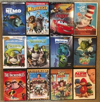 Lot of 12 Children's Movies DVD Shrek Nemo Cars Toy Story 3 Incredibles Jumanji