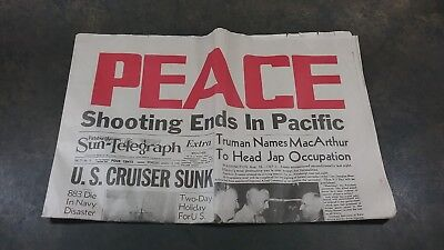 "Wwii Aug 15 1945 Pittsburgh Sun Telegraph Newspaper ""peace Shooting Ends"""