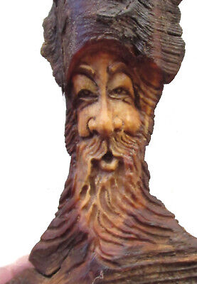 Wood Tree Hobbit Rustic Spirit Carving Carved Forest Gnome Elf Wizard Sculpture
