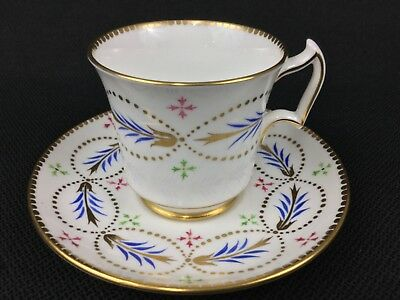 Wedgwood Royal Chelsea Bone China Blue Red Green Gold Tea Cup and Saucer 192A