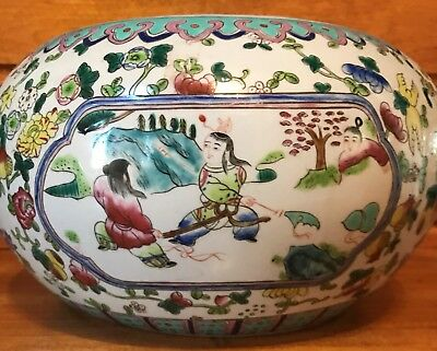 ANTIQUE CHINESE EXPORT LARGE ENAMELLED FISH BOWL/PLANTER 19th CENTURY MARKED