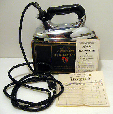 1939 Sunbeam Ironmaster A-1 Electric Iron w/Box Cloth Cord- Inserts & Papers