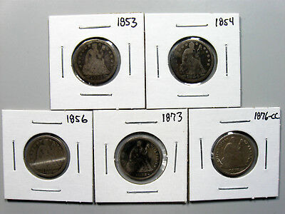 Lot of (5) Liberty Seated Dimes - 1853, 1854, 1856, 1873, 1876-CC