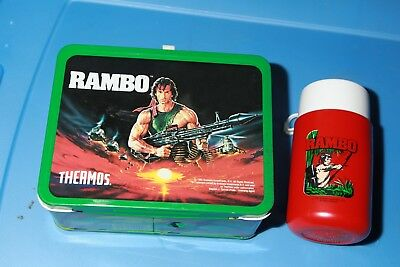 1985 Rambo Metal Lunchbox WITH Thermos