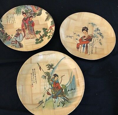 Vintage Retro Bamboo 28Cm Plates With Japanese Decoration In Vg Condition