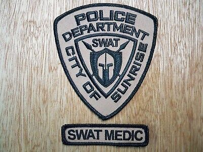Florida - Sunrise Police Patch PREVIOUS ISSUE SWAT MEDIC SET OF 2
