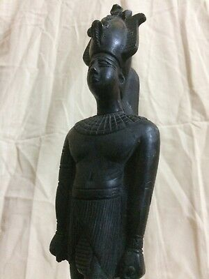 Rare EGYPTIAN PHARAOHS ANTIQUITIES KING Osiris GODS Statue EGYPT Carved STONE BC