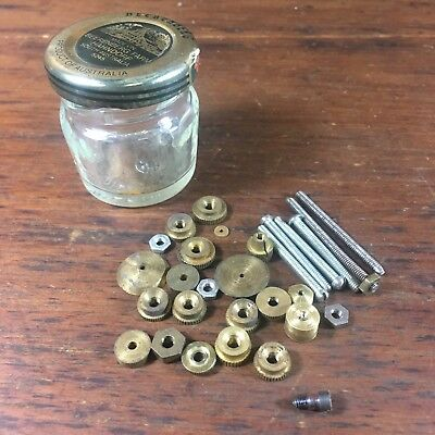 VINTAGE LOT x30 ASSORTED CLOCKMAKER'S BRASS HAND NUTS VARIOUS TOOLS SCREWS