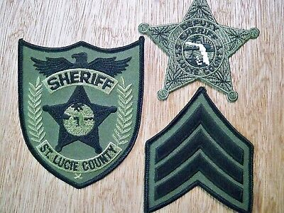 Florida - St. Lucie Sheriff Police Patch CURRENT ISSUE SET OF 3 SUBDUED