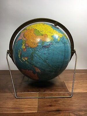 "Vtg 1960's George F Cram Scholastic 12"" World Globe Double Axis MCM Metal Stand"