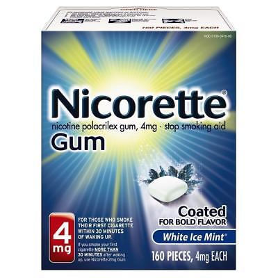 Nicorette Gum 4mg White Ice Mint 160 Pieces Exp 11/2020 Stop Smoking Aid Coated