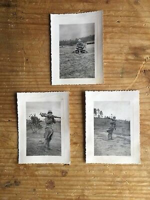 WWII U. S. Army ~ Soldier & .50 Cal Browning ~ Original B/W Period Photo Lot