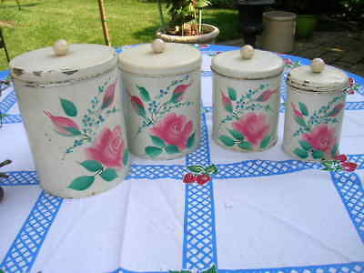 Vintage Shabby Chic 4 Piece Pink Roses Canister Set With Lids