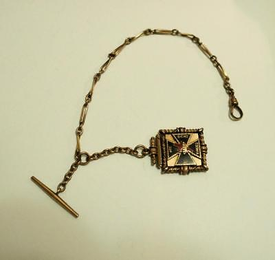 Antique Masonic Knights Templar Gold Filled Pocket Watch Fob And Chain W/ T Bar