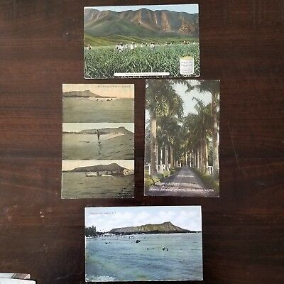 8 Circa 1910 Honolulu Hawaii Postcards – Diamond Head, Surfing, etc.