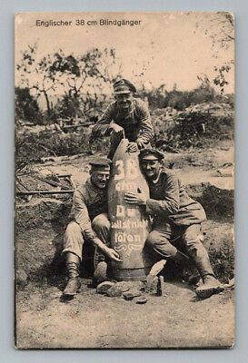 WW1 GERMAN Real Photo RPPC Postcard SOLDIERS with 38cm BRITISH ARTILLERY SHELL