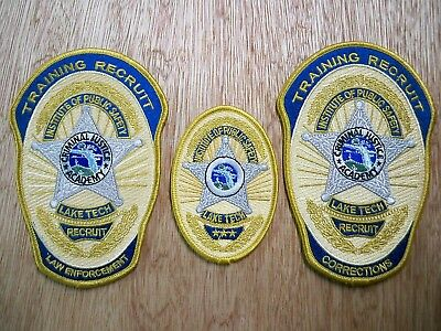 Florida - Lake Tech Institute Police Patch CRIMINAL JUSTICE ACADEMY SET OF 3