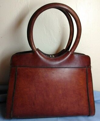 6498932f753d Rare Vintage Etienne Aigner Hand Made Womens Oxblood Leather Purse Round  Handles