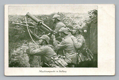 Antique WW1 GERMAN Real Photo RPPC Postcard SOLDIERS in TRENCH with MACHINE GUN