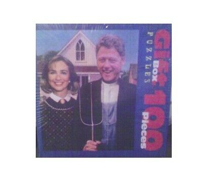 "President Bill (and Hillary) Clinton Puzzle, ""Arkansas Gothic"" 100 Pcs., Sealed!"