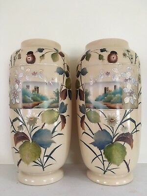 2 Amazing Large Hand Painted Bristol Glass Cream Color Vases Castle Scenes 14""
