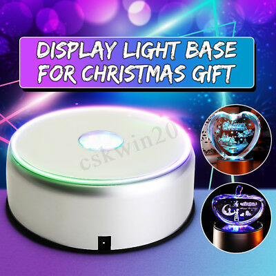 Unique 7-LED Colorful Light Rotating Crystal Display Base Stand Holder Silver