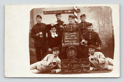 Antique WW1 GERMAN Real Photo RPPC Postcard HANDSOME SOLDIERS w/ PRETTY WOMAN