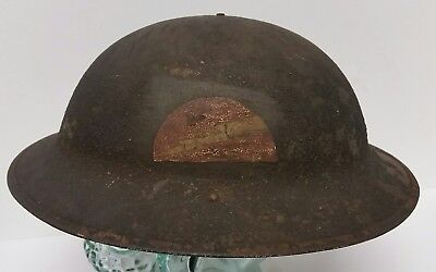 WWI US Helmet Original 78th Infantry Painted Insignia Lightning Division Army