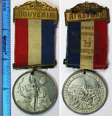 1894 G.A.R Columbian Expo 38mm Medal-Ribbon Embossed-28th Encampment-Pittsburgh