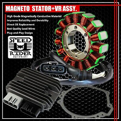 08-10 Zx-10R Magneto Coil Stator+Voltage Regulator Rectifier+Gasket 21003-0072