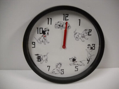 """Vintage Disney 101 Dalmations 10"""" Wall Clock Battery Operated 1993 Rare Works!"""