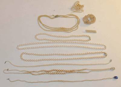 Vintage Older Lot Pearl Necklaces Bracelet Pin  Jewelry