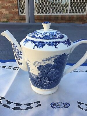 "Barker  Brothers England -Blue and white ""Teapot"" Royal Tudor ware, antique ."
