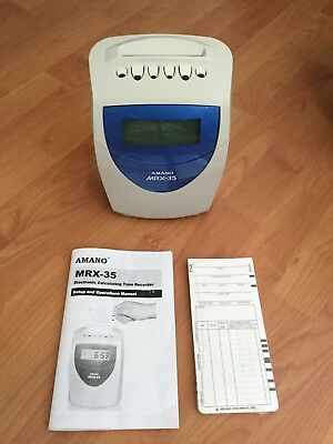 Amano MRX-35 Calculating Time Recorder with Manual and Programming Cards $60