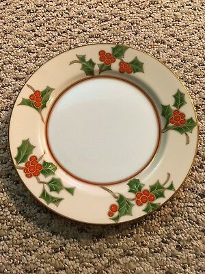 """Fitz & Floyd Christmas Holly 6.5"""" Bread Plate China Mint Antique Holly Berries"""