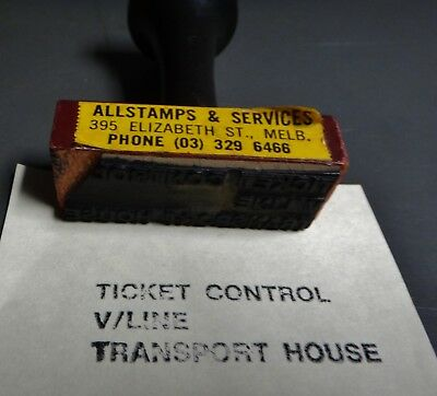 Victorian Railways ..  Ticket Control.. Transport House.. Rubber Stamp