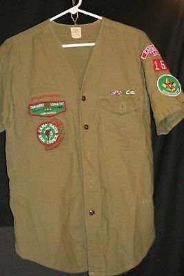 Army Green Boy Scouts Of America Button Up No collar Short Sleeve Shirt LOT #9