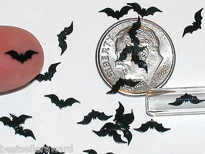 40pc. Super tiny Magical Halloween Black Bats Wings Miniature for glass bottle