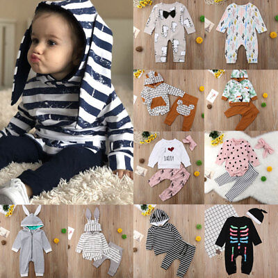 Newborn Baby Girl Infant Clothes Hooded Tops Pants Infant Outfits Sets Tracksuit