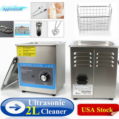2L Liter Industry Heated Stainless Steel Ultrasonic Cleaner Heater+Timer US