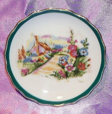 Estate Collectable ~ Green Gold Rim Country Scene Pin Butter Pat Dish ~ Vintage
