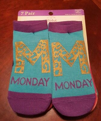 New! 7 Pair Of Faded Glory Girls Socks! Size M 10 1/2-4. Monday-Friday Fun Socks