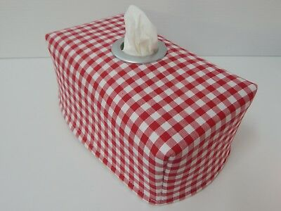 Tissue Box Cover Red Gingham Check Fabric With Circle Opening