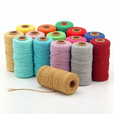 2MM Macrame Rustic Rope Colorful Cotton Twisted Cord String DIY Hand Craft EU