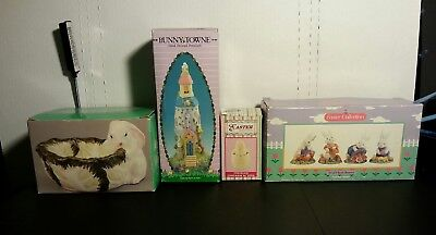 Vintage Retro Easter Figurines Decorations Rabbit Bunny Chick Egg Bowl Gift