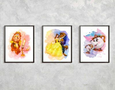 Set of 3 Beauty and the beast A4 Print Nursery/Home Print personalised